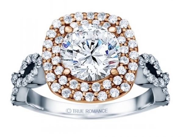 Round Cut Double Halo Diamond Infinity Engagement Ring by True Romance