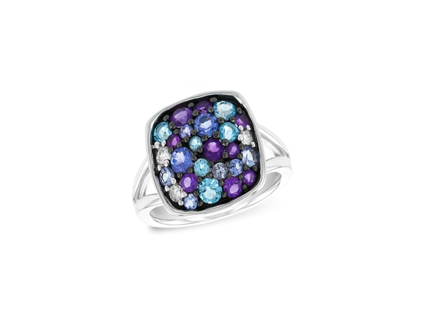 Tanzanite, Amethyst, Blue Topaz Ring by Allison Kaufman