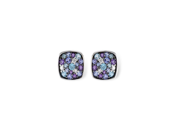 Tanzanite, Amethyst, Blue Topaz Earrings by Allison Kaufman